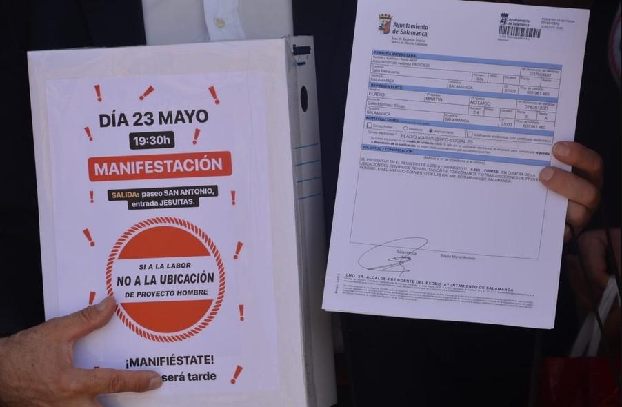 entrega 6069 firmas contra ubicacion proyecto hombre