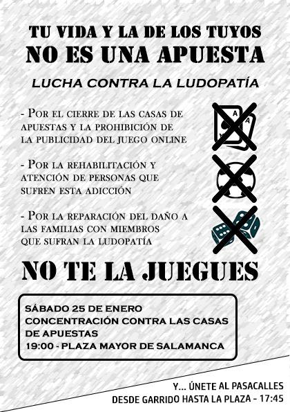 Manifestación contra casas de apuestas Salamanca Manifestación