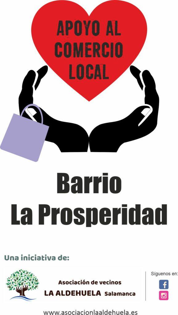 Cartel Apoyo al comercio local del Barrio La Prosperidad de Salamanca